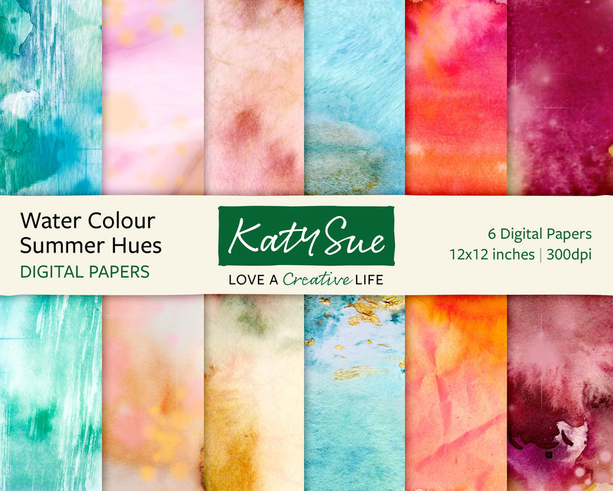 Water Colour Summer Hues | 12x12 Digital Papers