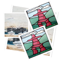 Load image into Gallery viewer, Inukshuk Santa Stickers, 4 per sheet