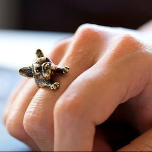 Urbandoks Ring Antique Bronze Frenchie-love Ring