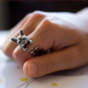 Urbandoks Ring Antique Silver Frenchie-love Ring