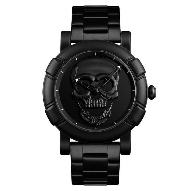 Urbandoks Watch Black Skull Embossed Wristwatch