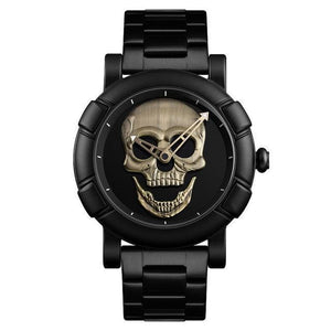 Urbandoks Watch Bronze Skull Embossed Wristwatch