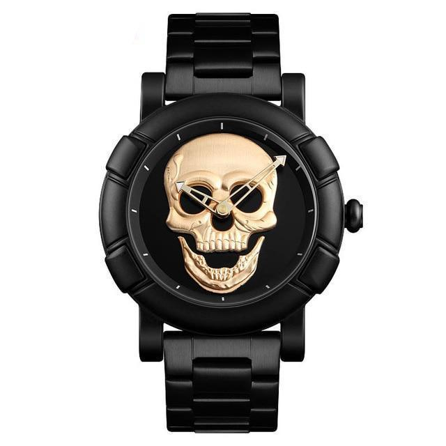 Urbandoks Watch Gold Skull Embossed Wristwatch