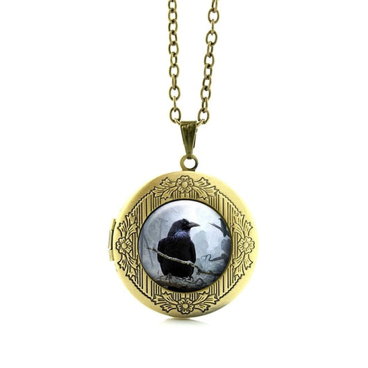 Raven Glass Pendant Necklace Spooky Black Bird Crow Photo Jewelry Gift Gothic Halloween birds locket pendant holiday gifts N524