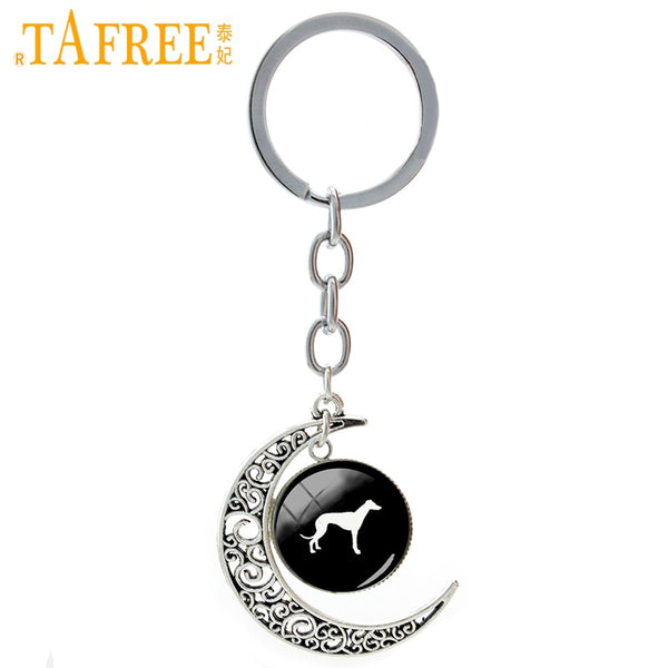 TAFREE Greyhound Dog moon pendant keychain cute pet dog silhouette jewelry men women Raven Skull Suger Skull key chain ring T413