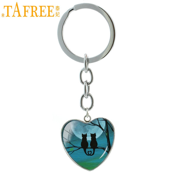 TAFREE Quiet night Full Moon Black Cat keychain novelty animals sand cat Hallowen Bat Raven heart key chain ring jewelry HP273