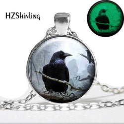Silver Luminous Raven glow in dark  Pendant Necklace Spooky  Night Lights Black Bird Crow Photo Jewellery Gift Gothic Halloween