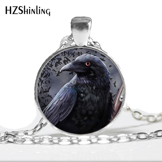 HZ--A200 New Fashion Glass Photo Pendant Neckalce Black Bird Necklace Black Bird Raven Pendant Glass Dome Pendant For Jewelry