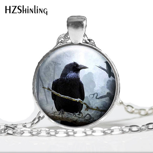 HZ--A306 Silver Raven Glass Pendant Necklace, Spooky Black Bird Crow Photo Jewellery, Glass Cabochon Necklace HZ1