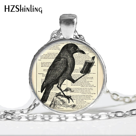 HZ--A298 Raven Pendant Crow Necklace Hot Glass Dome Jewelry Glass Cabochon Dome Pendants Necklaces Bird Jewelry HZ1