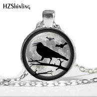 HZ--A32 Halloween Raven necklace Halloween Raven Full Moon pendant Halloween Trick or Treat jewelry Glass Cabochon Necklace HZ1