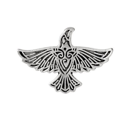 QIHE JEWELRY Pins and brooches Viking flying raven pin Norse crow medieval Brooch Viking jewelry Norse Mythology