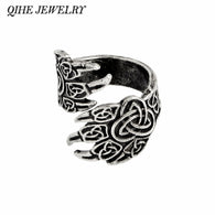 QIHE JEWELRY Viking Cow Raven Claw Ring Gothic Odin's Ravens Viking Jewelry Norse Mythology Rings for men Gift