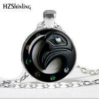 HZ--A458 New The Raven Tribal Necklace Magick Wiccan Jewelry Glass Cabochon Necklace Pendant HZ1