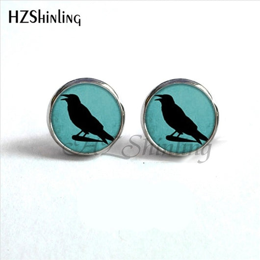 ED-0045 New Arrival Crow Earrings Steampunk Glass Dome Blackbird Raven Stud Hypoallergenic Earrings for Women HZ4