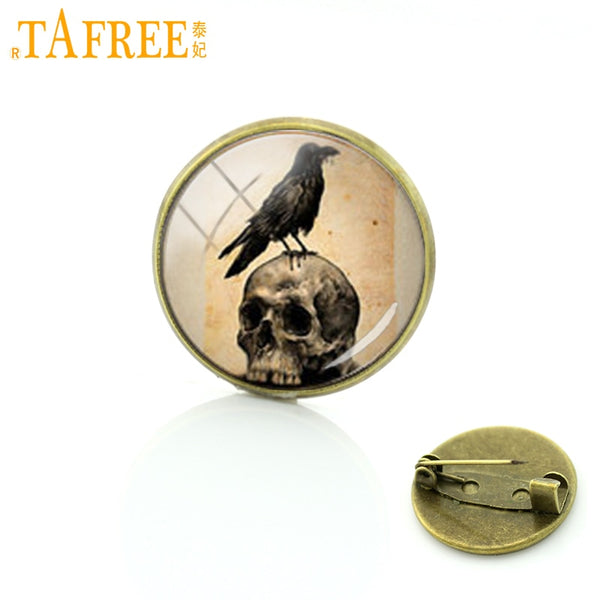 TAFREE Steam punk skeleton badges Vintage crow raven skull brooches for men women Gifts for Father Tattoo Gallery jewelry T297