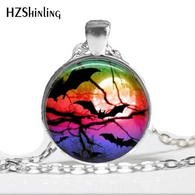 NS-0098 New Fashion Glass Cabochon Dome Jewelry Black Raven Necklace Halloween Bat Pendant Picture Necklace HZ1