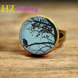 2017 New Style Raven In Tree Ring Art Photo Round Glass Ring Antique Moon and Ravens Adjustable Ring for Girls