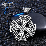 BEIER wholesale stainless steel viking Vegvisir and Raven Skull Amulet Pendant Necklace Original Cross Jewelry for men BP8-113