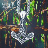 BEIER wholesale price stainless steel viking Vegvisir and Raven Skull Amulet Pendant Necklace Original Jewelry for men BP8-317