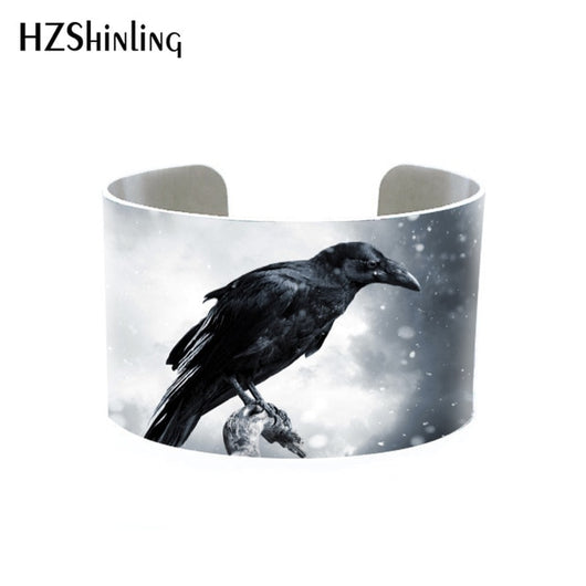 2018 Trendy Raven Crow Jewelry Brushed Silver Cuff Bracelet Metal Bangle with Crows Ravens in Black Cuffs Blackbird Gothic Gifts