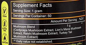 Tetrad 4 Mushroom Blend - Lions Mane, Cordyceps, Reishi, and Turkey Tail - Complete Brain and Body Wellness Blend for Focus, Natural Energy, Stress Management, and Vitality -Vegan, GF, Non-GMO