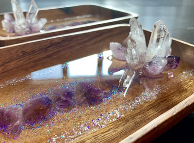 Amethyst Resin Art Jewellery/Ring Tray - Halo Collection - ikigaicreations.ca