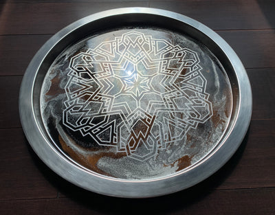 Silver - Black Mandala Tray - ikigaicreations.ca