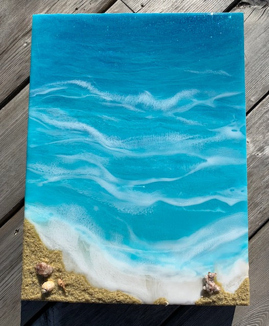 Beach with coral stones Resin Art - ikigaicreations.ca