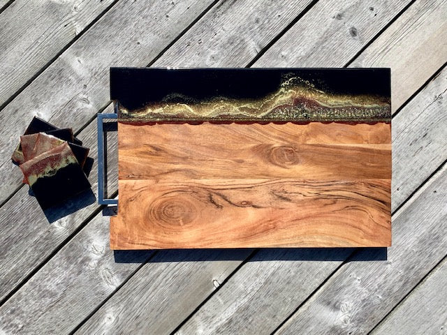Mink Resin Art Charcuterie Board & Coasters - ikigaicreations.ca