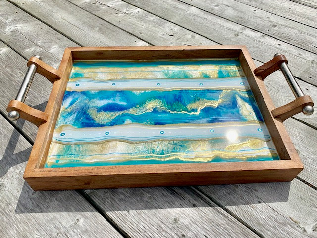 Blue Glam Resin Art Serving Tray - ikigaicreations.ca