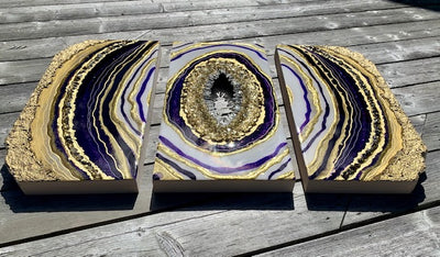 Plum Triptych Geode Resin Art - ikigaicreations.ca