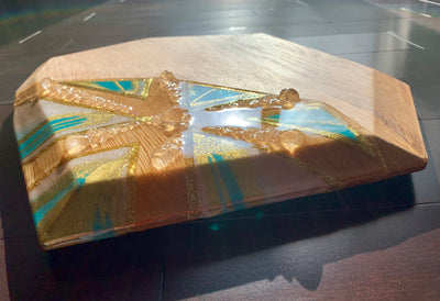 Octagon Resin Art Charcuterie Board - L - ikigaicreations.ca