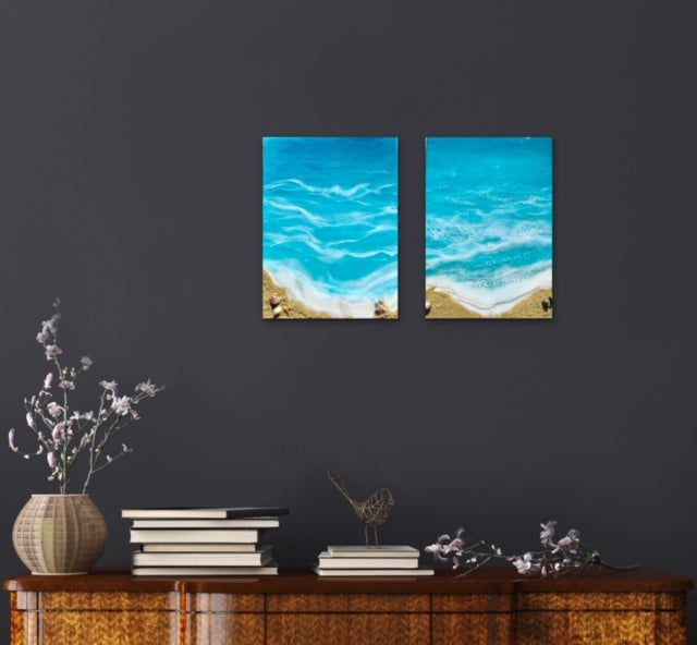 Beach with pyrite stones Resin Art - ikigaicreations.ca