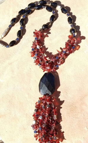 Maroon & Black Fringed Glass Bead Drop Necklace