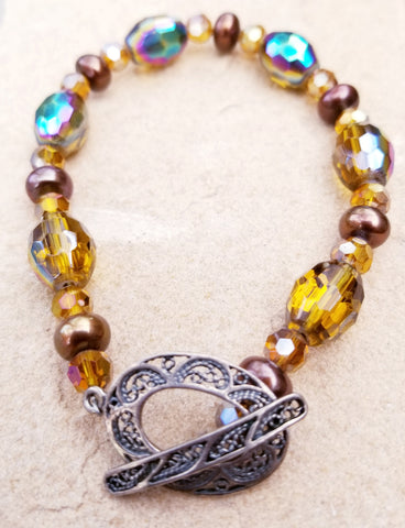 Iridescent Golden Beads with Purple Pearls Bracelet