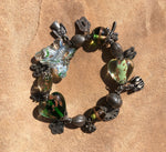 Butterfly Glass with Ornamental Beads & Charm Bracelet
