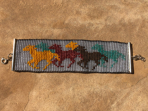 Running Horses Woven Seed Bead Bracelet with Lobster Clasp