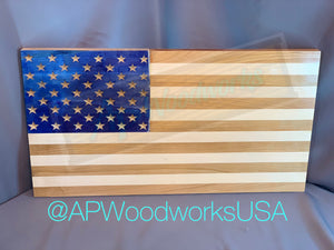 American Flag with Wood Dyed Union With Cherry and Maple Stripes