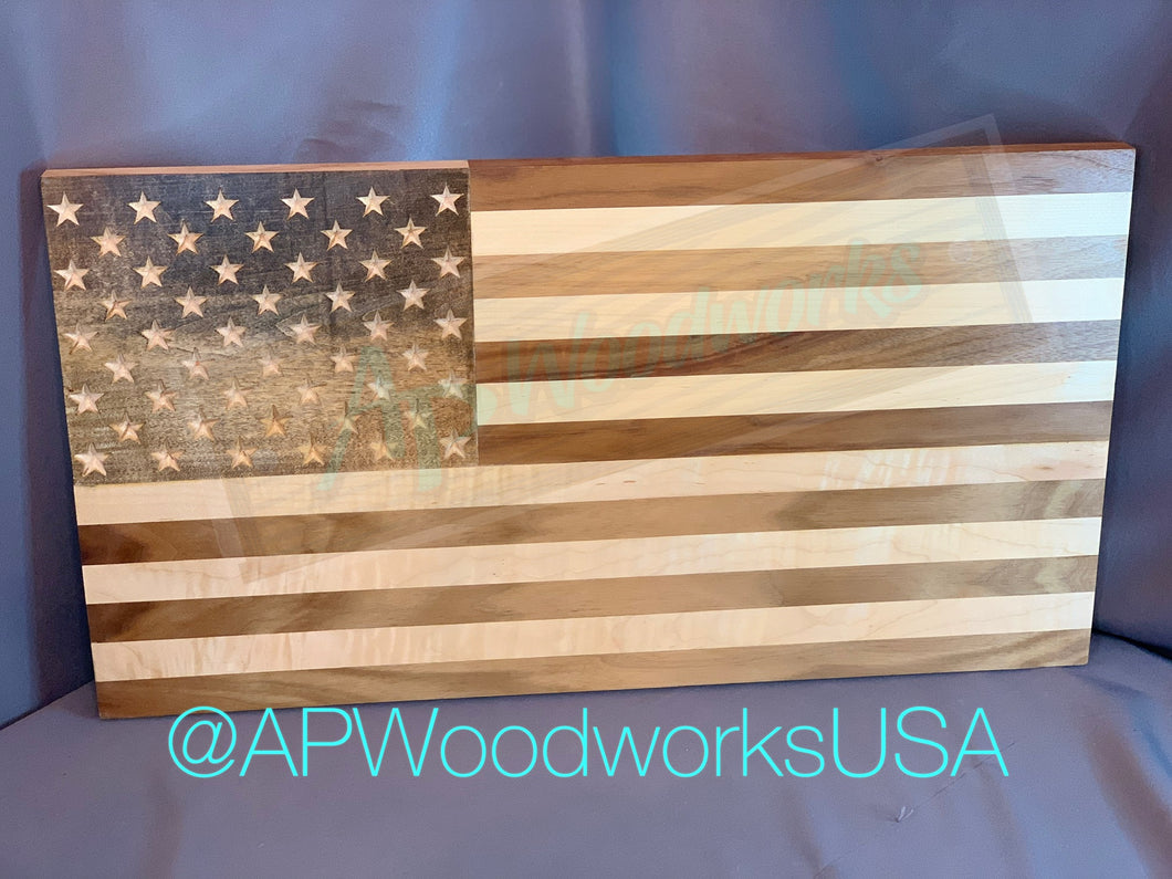 American Flag with Stained Union and Maple and Walnut Stripes
