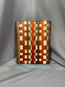 SOLD Maple, Walnut and Padauk Checkerboard Cutting Board