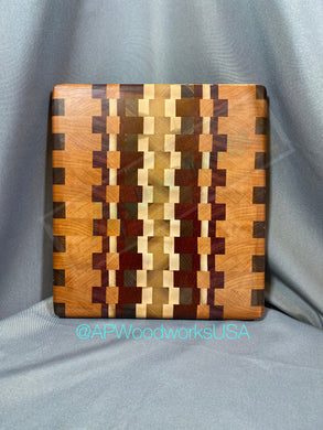 Cherry, Walnut, Maple, Padauk and Purple Heart End Grain Cuttingboard