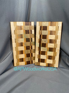 Set of 2 identical Maple and Walnut Boards