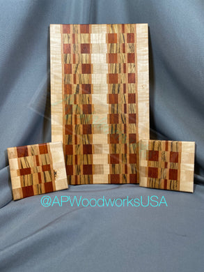 Padauk, Zebrawood and Curly Maple Cutting board and Coaster Set