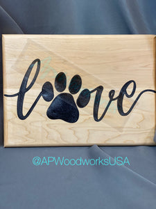 Love with Paw Print Cutting Board