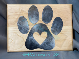 Paw Print with Heart in the Middle Cutting Board