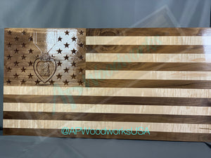 Large Purple Heart Union American Flag