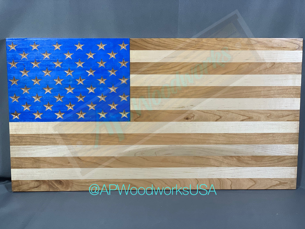 American Flag with Painted Union and Cherry and Maple Stripes