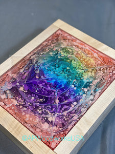 Eye of the Rainbow Resin Art Piece