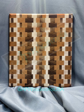 SOLD Maple Walnut and Cherry End Grain Board